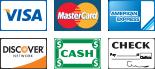 We Accept Visa, MasterCard, Discover, American Express, Cash, and Checks